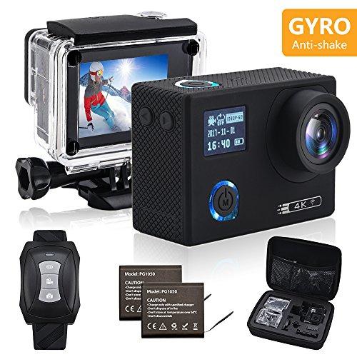 IXROAD Caméra Sport Embarquée 4K Gyro WiFi Action Cam Appareil Photo Étanche avec Télécommande (Noir)