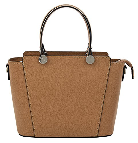 ADRIANA Top-Handle Bag Tote Handbags Women's Genuine Leather Made in Italy Handcraft-cognac