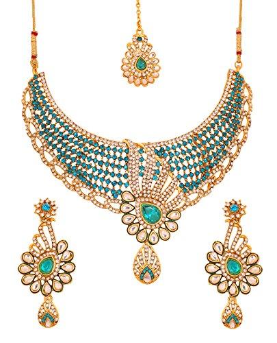 Bollywood Traditioneller und moderner Kundan Polki Look weiß und blau Faux türkis Strass Grand Braut Designer Schmuck Halskette Set für Frauen in Gold Tone (Indisch Inspiriert Modeschmuck)