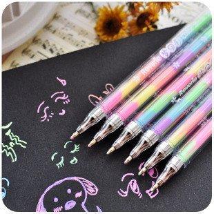 Caxmtu Lot de 3stylos aquarelle à gel, couleurs de l'arc-en-ciel 6 en 1, stylo coloré pour