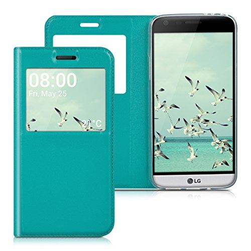 kwmobile Hülle für LG G5 / G5 SE - Bookstyle Case Handy Schutzhülle Kunstleder mit Sichtfenster - Flipcover Klapphülle Petrol