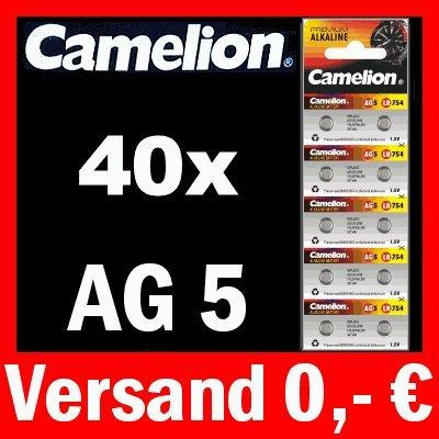40 x AG5 LR48 KNOPFZELLE 193 393 GP93A SR754W CAMELION