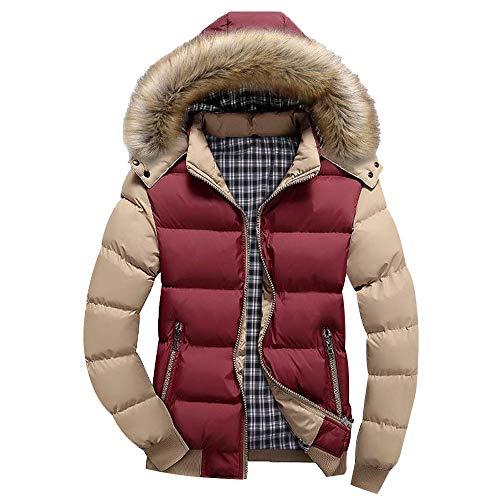Yesmile ⭐ Abrigo Cálido Casual Hombres y Niños Abrigo de Cremallera de Invierno con Capucha Chaqueta de Abrigo de Burbuja más tamaño de Mosaico de Color Blusa