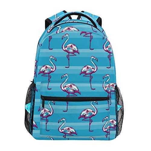 Buchtasche für Teenager Mädchen Jungen Flamingo Sketch blau gestreift Reiserucksack Tasche Wandertasche für Damen Herren ()