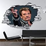 Sticker trompe l'oeil 3D mur déchiré Johnny Hallyday au revoir - Normal, L 90cm x H 60cm