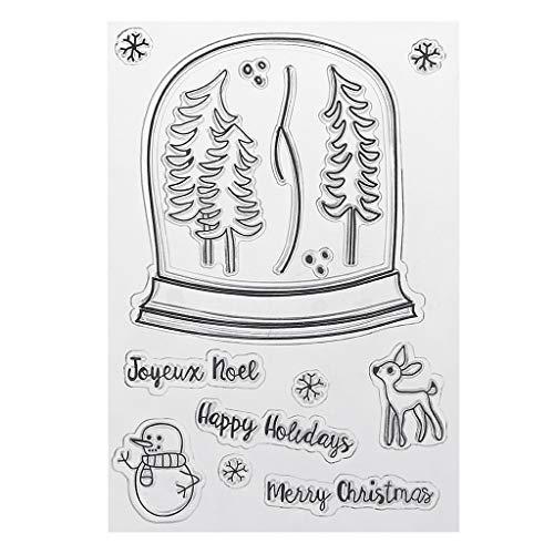 Hothap PVC Weihnachten Stempel Siegel Nette Muster Schneemann Elk Bäume DIY Scrapbook Fotoalbum Karte Dekor Englisch Buchstaben