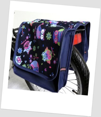 T-JOY-33 Fahrradtasche JOY OWL 6 Eule Navy Bunt Kinderfahrradtasche Satteltasche Gepäckträgertasche 2 x 5 Liter KINDER