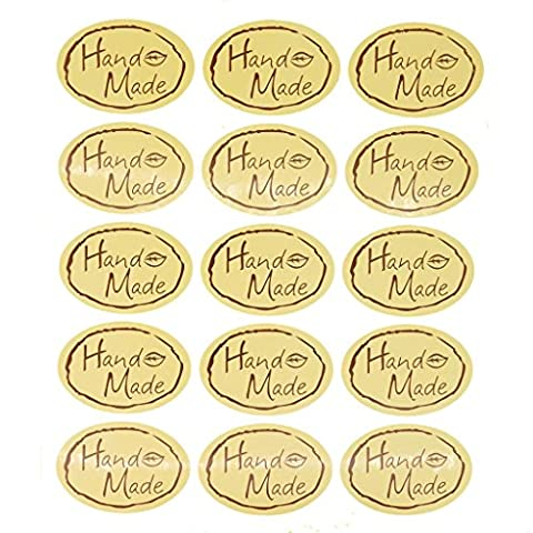 Hand Made Oval Sticker for Home Baking Gift Packaging, Pack of 150