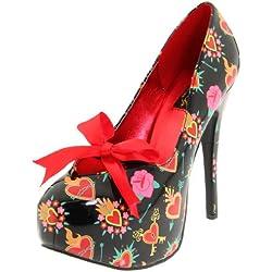 Pinup Couture - zapatos de tacón mujer, color negro, talla 3 UK / 36 EU / 6 US