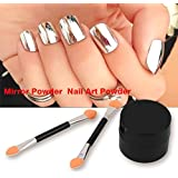 Torque Traders Silver Mirror Powder Magic Look Metallic Effect Dust Chrome Pigment Shinning Nail Art/Nails Decorations with 2 Brush, 2g (TRTAZI11A)