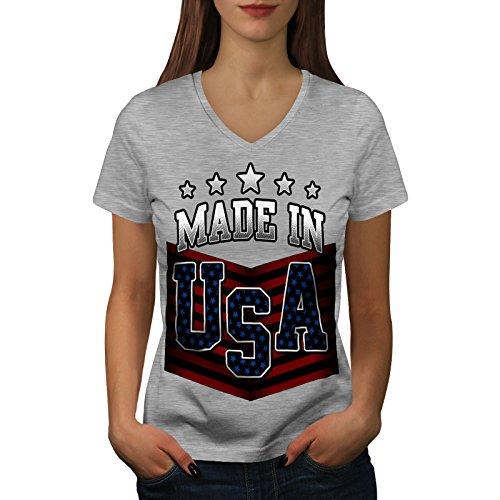 wellcoda Gemacht im USA Frau L V-Ausschnitt T-Shirt