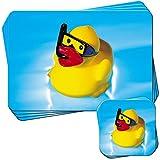 canards en caoutchouc Bain moussant enfants jouet Lot de 4sets de table et dessous-de-verre, Snorkel Wearing Rubber Duck, 4 Placemats & 4 Coasters