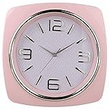 Reloj de pared cuadrado - Estilo años Setenta - Color Rosa Suave