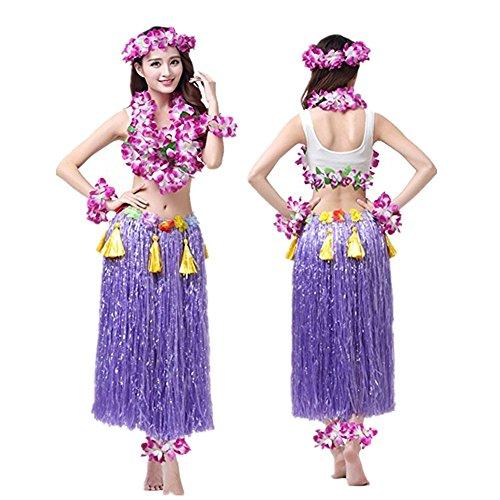 Imagen de hawaiano hula vestido falda hierba guirnaldas de flores accesorios de playa dance costume disfraces purpura alternativa