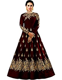 2dc77fcc5 Shree Impex Women s Embroidered Taffeta Silk Anarkali Gown (Freesize)