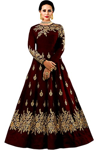 Shree Impex Women's Silk Gown (Bukey_gown _Maroon_ Free Size)
