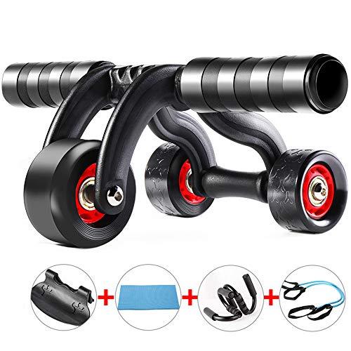 HOUMU Tragbare rutschfeste langlebige stumm 3 Rad Power Roller, weiche und komfortable Roller fitnessgeräte, ab Rad anfänger Sport Roller 5 stück Set,Black - 3-rad-power Roller