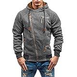 Hffan Herren Herbst und Winter Langarm Sweatjacke Unregelmäßig Reißverschluss Hoodie Jacke Sportlich Freizeit Mantel Baumwolle Sweatshirts mit Tasche(Dunkelgrau,X-Large)