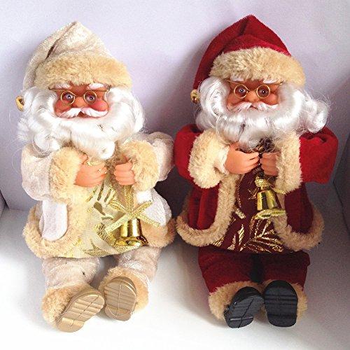 2 PCS Weihnachtssitzen Weihnachtsmann Puppe Gefüllte Kissen Dekorative Vater Sitzen Plüsch Figürchen Spielzeug Valentinstag Geschenk 25cm (rot und weiß)