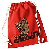 Guardians of the Galaxy GROOT Vol. 2 / Turnbeutel mit Fun Motiv Aufdruck / Rucksack GYM Jutebeutel / Ideales Geschenk, Color:Bright Red (Rot)