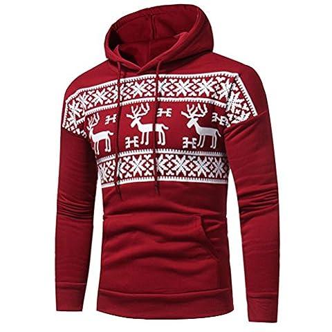 Männer Kapuzenpullover Tops Hirolan Weihnachtspullover Bekleidung Weihnachten Hirsch Drucken Jacke Lange Hülse Mantel Übergroß Mit Kapuze Sweatshirt Herbst Winter Outwear (M, Rot)