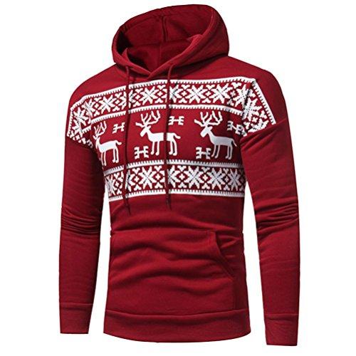 #Männer Kapuzenpullover Tops Hirolan Weihnachtspullover Bekleidung Weihnachten Hirsch Drucken Jacke Lange Hülse Mantel Übergroß Mit Kapuze Sweatshirt Herbst Winter Outwear (XL, Rot)#