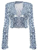 kayamiya Damen Pailletten Jacke Langarm Sparkly Cropped Shrug Clubwear M Silber