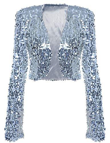 kayamiya Damen Pailletten Jacke Langarm Sparkly Cropped Shrug Clubwear XL Silber