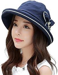 Siggi Femme Capeline Pliable Chapeau de Soleil Nœud Fleur Large Bord Visière Eté Plage Voyage UPF UV