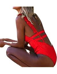 ZARLLE Trajes De BañO Mujer Una Pieza Bikinis Atractivo De Mujeres De BañO Push Up Sujetador Acolchado Estampado De Flores Y Traje De BañO Ropa De Playa (Rojo, M)