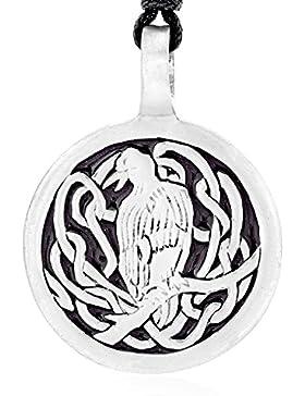 Llords Schmuck Halskette mit keltischem Raben Anhänger in irischem Knoten Design, feinster Zinn Metall Modeschmuck