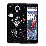 OnePlus 3 Hülle, WoowCase Handyhülle Silikon für [ OnePlus 3 ] Astronaut Herz - I Love To the Moon And Back Handytasche Handy Cover Case Schutzhülle Flexible TPU - Schwarz