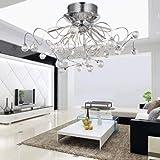 ALFRED® Moderne Kristall-Kronleuchter mit 11 Leuchten (Chrom), ebene Einfassung Kronleuchter Moderne Leuchte Decke für Flur, Eingang, Schlafzimmer, Wohnzimmer mit Leuchten