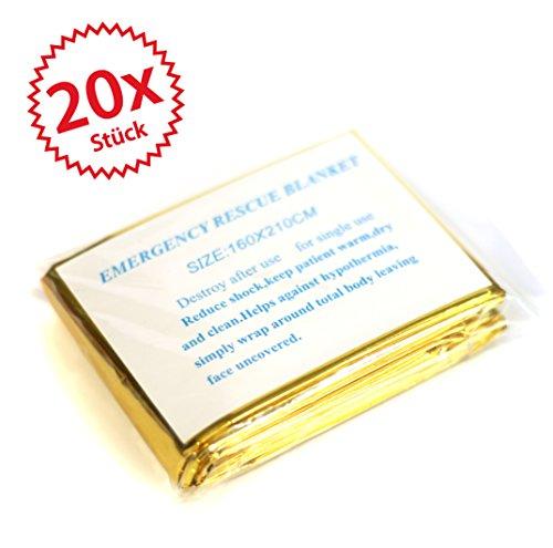 20 x Rettungsdecke Gold/Silber 2,10 * 1,60