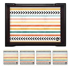 Nutcase Designer Wooden Serving Trays With A Set Of 4 Matching Metal Coasters for Kitchen Serving/Dining Set - Colorfull Strips