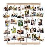 AIEVE Bilderrahmen Collagen, Fotowand Holzbilderrahmen Fotorahmen Wanddekoration mit Klammer um mehre Fotos Aufzuhängen für DIY Basteln