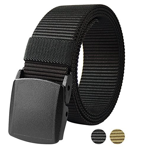 Fairwin Verstellbare Nylon Web Belt mit herausnehmbaren YKK-Kunststoff Schnalle, Nickel Free Gürtel Wandern Schwarz, - Herren-web-gürtel Schnalle Mit Kunststoff