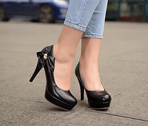 Mee Shoes Damen mit Schleife runde Plateau high heels Pumps Schwarz