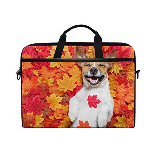CPYang Laptop-Tasche Herbst-Ahornblätter Hund Computer Laptop Tasche Notebook Laptop Umhängetasche Messenger Bag Sleeve für Jungen Mädchen Damen Herren