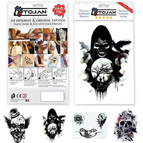 ee9f5ebcb20cc Gothic/Halloween Temporary Tattoos kit of 4 Large Different sheet of Tattoos
