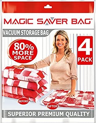**60% OFF CLEARANCE SALE** 4 PACK Space Saver Bags, 80% More Vacuum Compressed Storage, Ultimate Protection For Duvets Bedding Clothes, Superior Premium Quality by MAGIC SAVER BAG produced by MAGIC SAVER BAG - quick delivery from UK.