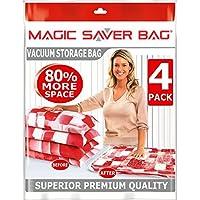 Magic Saver Bag - Buste salvaspazio, dimensioni 80 x 100 cm Set di 6 buste salvaspazio per sottovuoto, extralarge per indumenti, piumini, lenzuola, cuscini, tende e articoli stagionali. Permettono di risparmiare il 75% di spazio e di proteggere i vostri oggetti da polvere, umidità, muffa e insetti.