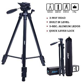Albott 56–163 cm Fotostativ Action (3-Wege Kugelkopf, Gummifüße und Spikes, Belastbarkeit bis 4 kg, Gewicht 1200 g leicht, Kamera Stativ inkl. Tragetasche) schwarz