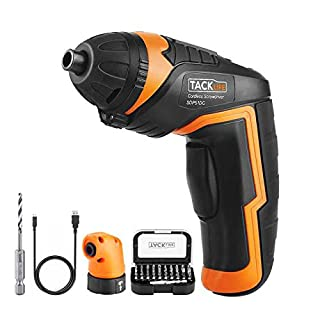 Cordless Screwdriver, Tacklife SDP51DC 3.6V 2000mAh Rechargeable Lithium Battery Electric Screwdriver Set with LED Light Torque 4Nm 33pcs Free Driver Bits USB Charging Cable Designed for Household Use