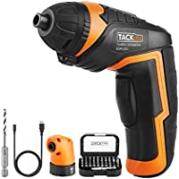 Black Friday Cordless Screwdriver, Tacklife SDP51DC Rechargeable Electric Screwdriver, 33 Accessories(Include Angle Adapter and Drill Bit),2.0Ah Li-ion Battery, Max Torque: 4 Nm, Thanksgiving Gift
