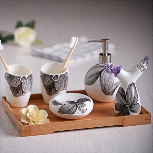 Ensemble de salle de bains,5 pièce Matériau Porcelaine d'Os Style Chinois Fleur noire,accessoires de bain