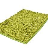 Zotteliger Bad-Teppich, Duschmatte für Badezimmer, saugfähig, rutschfest, Shaggy Teppich, 40x 60cm, Chenille, grasgrün, 40 x 60 cm