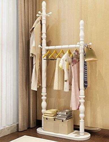 Standfuß Hängegestell Einfache moderne Massivholz-Fußboden-Aufhänger-Schlafzimmer-Mantel-Zahnstangen-Farbe wahlweise freigestellt Boden Stehmantel und Hut Stand ( Farbe : Weiß )