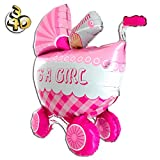 Riesiger 3D Folienballon Kinderwagen Buggy It's A Girl 107cm Rosa XXL - Baby Party Geburt Taufe Mädchen Babyshower Ballon Luftballon Riesenballon Pink
