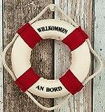 Maritim Deko Rettungsring 15 cm rot/weiß Willkommen an Bord Dekoration Fischernetz